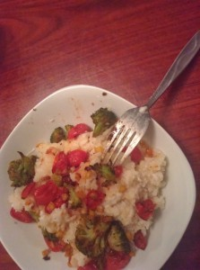 Crockpot Roasted Corn, Tomato and Broccoli Risotto #SundaySupper