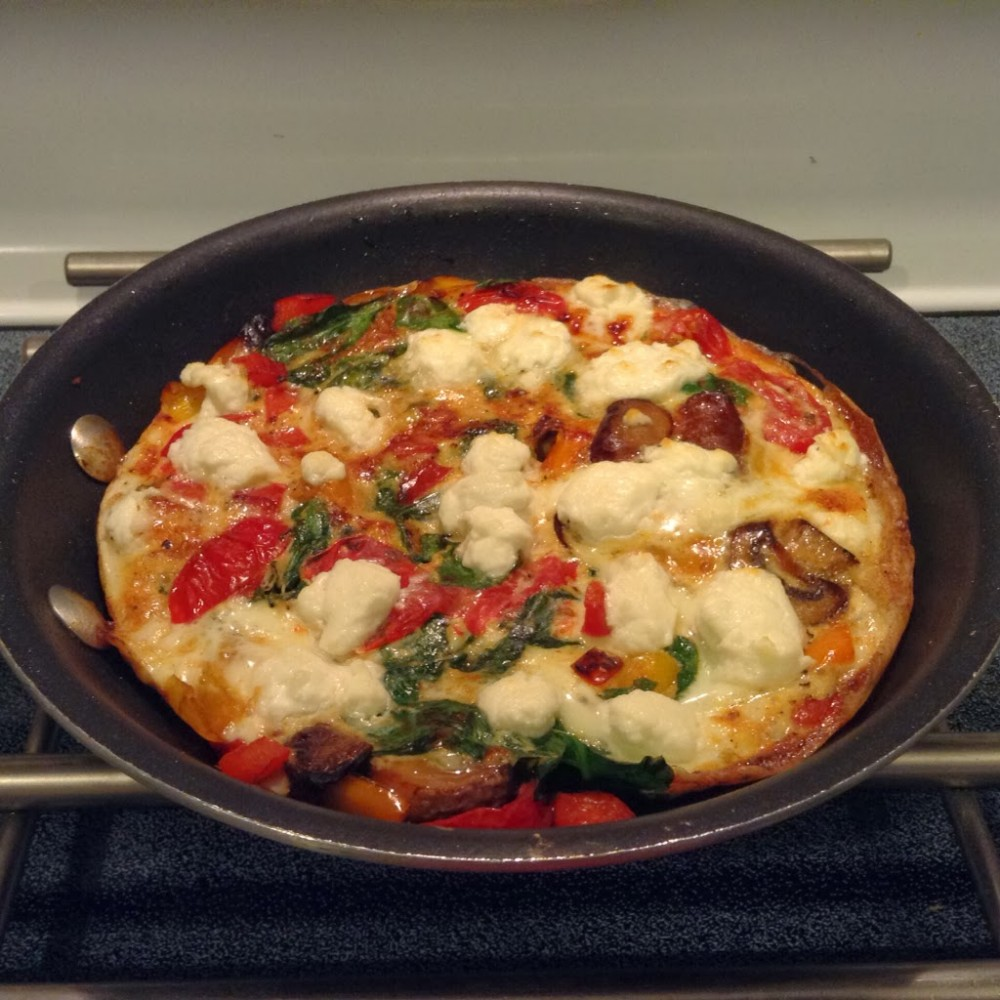 Spinach, Peppers, Mushroom and Tomato Frittata #PepperParty