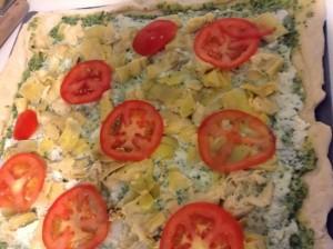 Homemade Pizza Night! Spinach and Artichoke Pesto Pizza