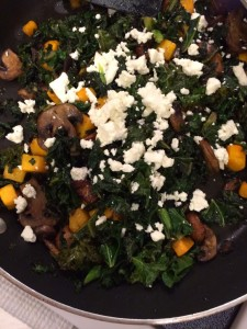 Roasted Butternut Squash with Wilted Kale, Mushrooms and Garlic for #SundaySupper
