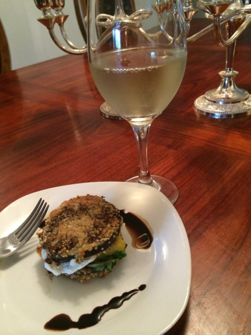 Quinoa-Crusted Eggplant and Heirloom Tomato Stacks #winePW