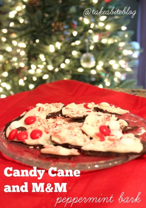 candy cane and m&m peppermint bark