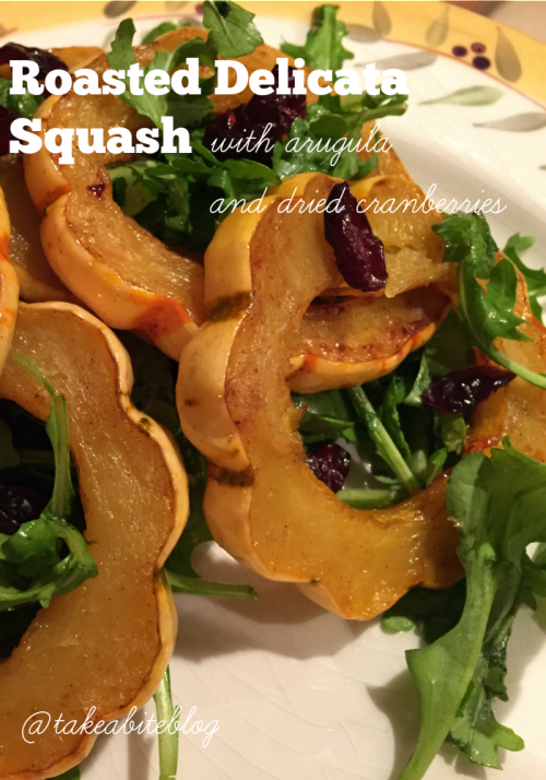 Roasted Delicata Squash with Arugula and Dried Cranberries by Take a Bite out of Boca
