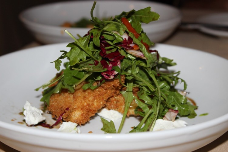 butcher block grill boca raton. fried green tomato salad with arugula, raddicho, roasted red peppers, goat cheese and brown sugar balsamic vinaigrette