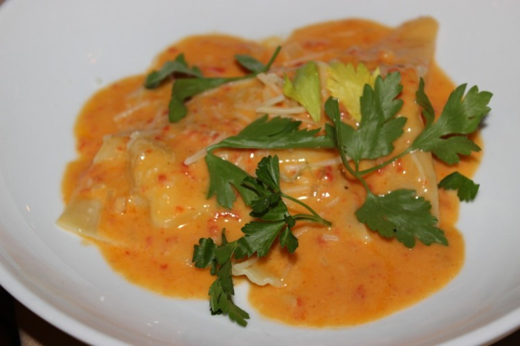 butcher block grill boca raton. polenta and crab won tons with roasted red pepper truffle butter