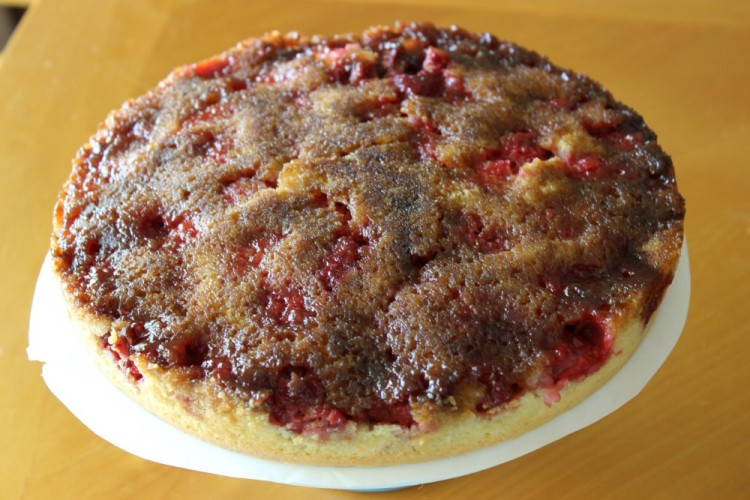 Raspberry Upside Down Cake #SundaySupper