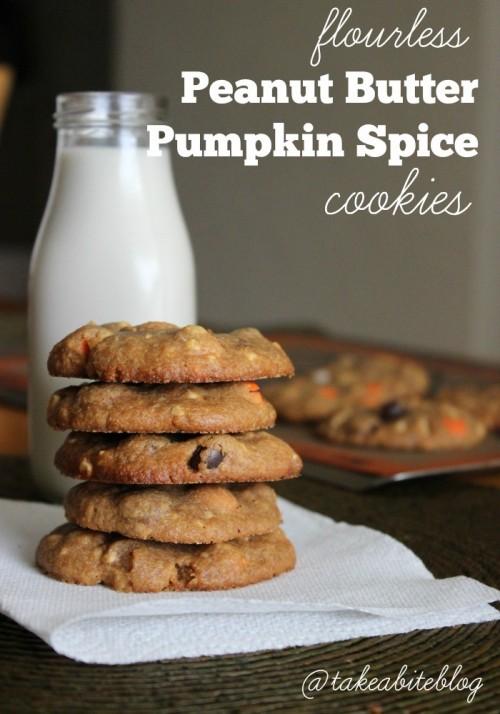 Flourless Peanut Butter Pumpkin Spice Cookies