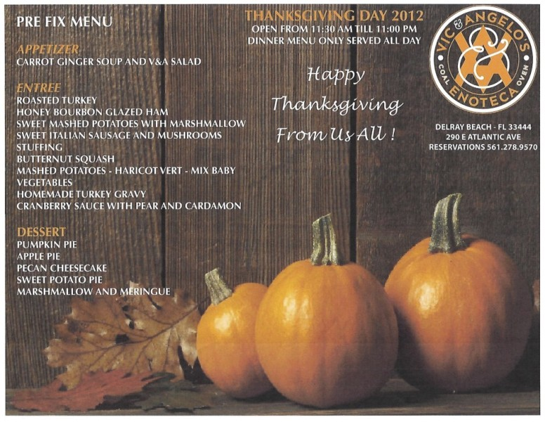 Thansgiving at Vic & Angelo's Delray Beach
