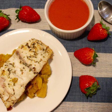 Pan-seared Sea Bass with Butternut Squash and Strawberry Sauce #SundaySupper #FLStrawberry
