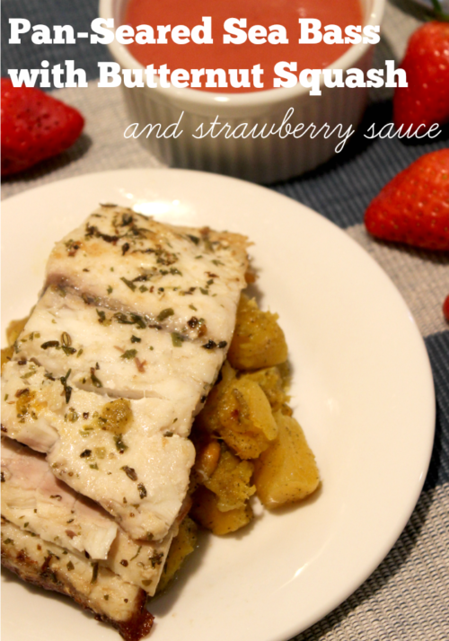 Pan-seared Sea Bass with Butternut Squash and Strawberry Sauce #SundaySupper #FLStrawberry