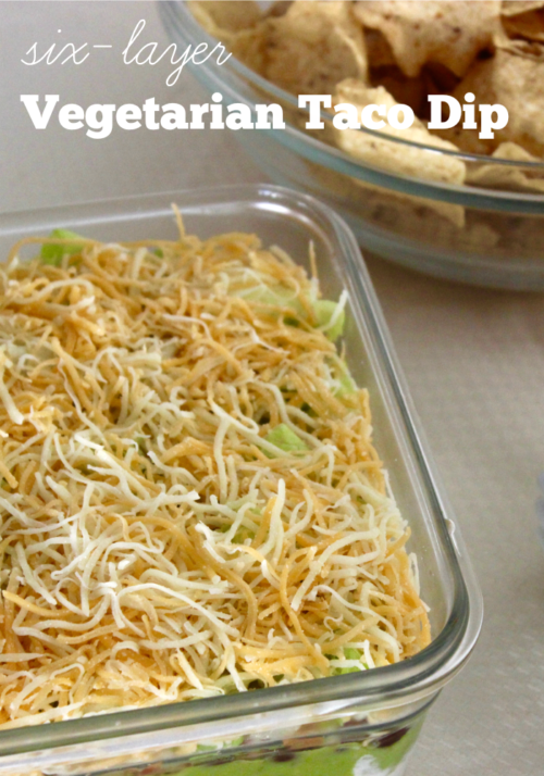 Six Layer Vegetarian Taco Dip #StonyfieldBlogger #OrganicMoments